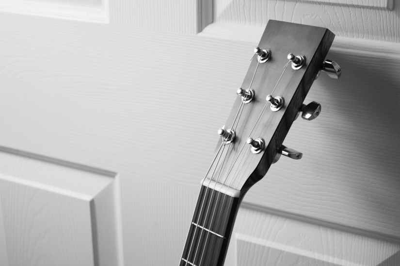black and white music guitar acoustic guitar